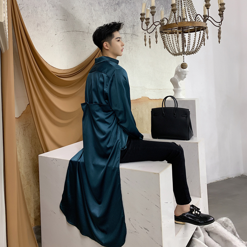 Men Asymmetry Design Casual Long Sleeve Shirt Vintage Fashion Streetwear Couple Dress Shirt Nightclub Party Stage Clothing