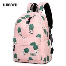 цена на WINNER Cute Cactus Printing Women School Backpacks For Teenage Girls Fashion Waterproof Laptop School Bag Mochila Travel Bag