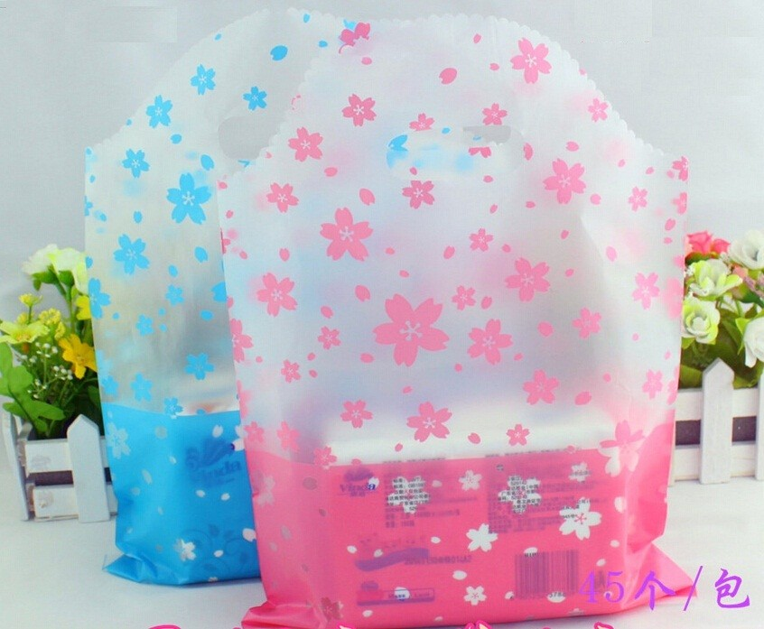 Large printed flower blue shopping plastic gift bags with handle ...