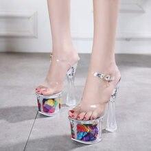 Przezroczyste kryształowe buty księżniczki 20 cm bardzo wysokie obcasy eleganckie buty damskie etap wybiegu sexy surowe z kwiatami sandały 42 43