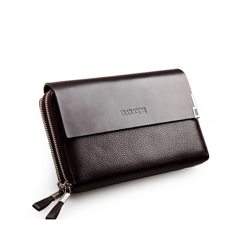 ФОТО Business Genuine Leather Men Wallets Luxury Brand Men Clutch Wallets Double Zipper Natural Cowhide Wallet For Men Purse