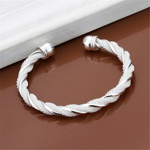 Christmas gift silver plated  jewelry beautiful female wire mesh bangle bracelet jewelry for women men B020