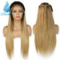 SHD Ombre Color Human Hair Wigs For Women Brazilian Straight Remy Hair 150 density Lace Wigs With Baby Hair Bleached Knots