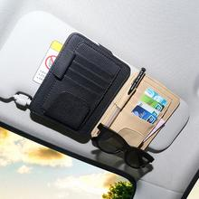 Faux Leather Car Vehicle Sun Visor Eyeglasses Pen Cards Holder Storage Clip Bag Card