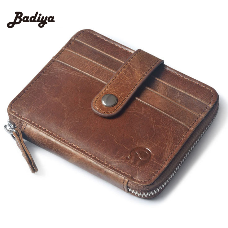 New Women Business Small Wallet Unisex First Layer Of Leather Short Purse Men Card Holder Oil Wax ID Card Case Money Pack new big brothers money cigarette card case box holder