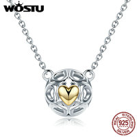 WOSTU Luxury Authentic 925 Sterling Silver My Only Love Heart Pendant Necklaces For Women Jewelry Gift