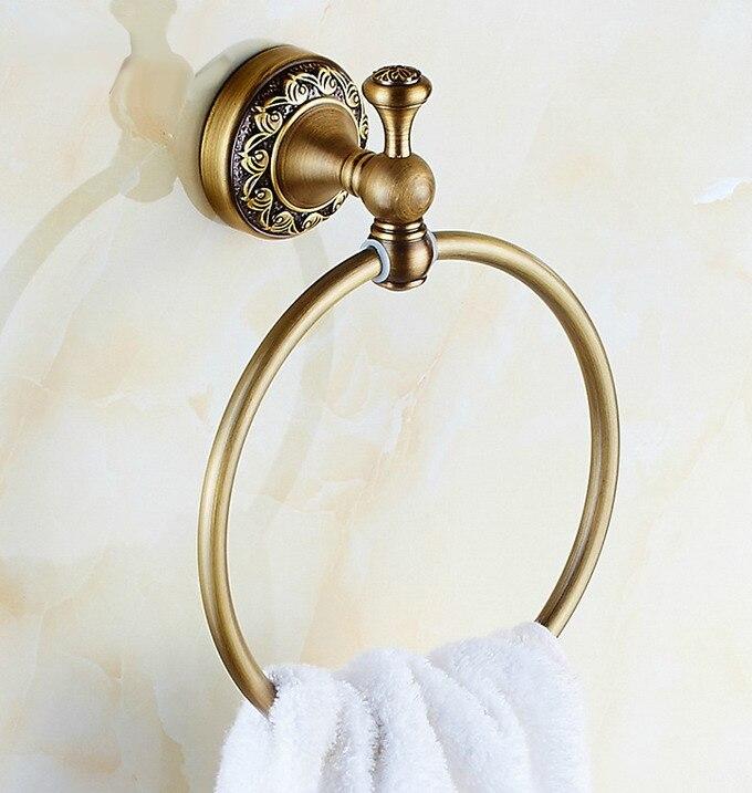 Винтаж антиквариат латунь ванная стена навесное полотенце кольцо держатель ванная аксессуары ванна фурнитура резьба цветок основа mba489