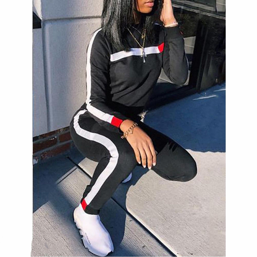 Women Set O Neck Long Sleeve Hoodies + Long Pant 2Pcs Ladies Sport Wear Femme Running Tracksuit Casual Suit