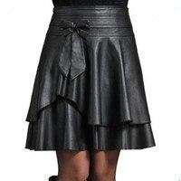 4XL plus size mulheres nova moda PU saia de couro feminino curto busto saia saia de cintura alta PU saia plissada D1562