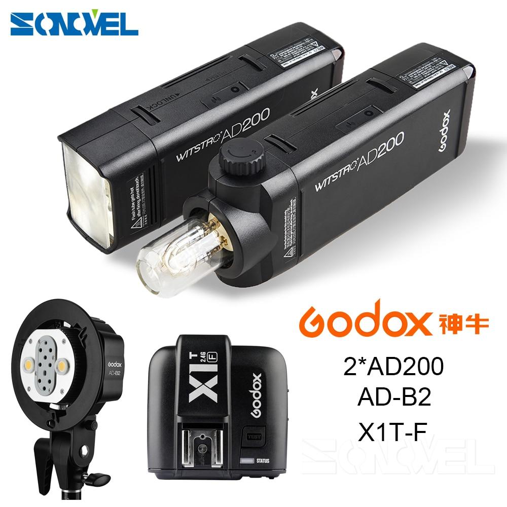 все цены на 2X Godox Pocket Outdoor Flash AD200 Convertible cap 2.4G Wireless 200WS TTL HSS 1/8000s sync+AD-B2+X1T-F For Fuji X-Pro2,X-T20 онлайн