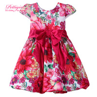 Pettigirl Short Sleeve Summer Style Infant Girls Red Flower Dress Bow Sash Fashion Princess Kids Girl Retail Clothing