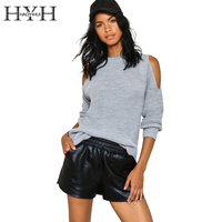 HYH HAOYIHUI Cold Shoulder Knitted Basic Sweater Autumn Tricot Pullover Jumpers Autumn Sexy Hollow Out Long