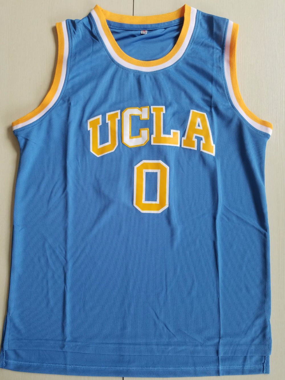 BONJEAN Cheap Throwback Basketball Jerseys 0 Russell Westbrook UCLA College Bruins Blue Jersey Stitched Retro Mens Shirts ...