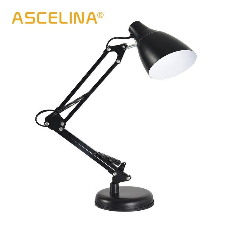 US $20.14 41% OFF|desk lamps reading table lamp bedroom bedside light metal  desk light modern table lights night light black white red E27 90 260V-in  ...