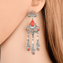 2018 European and American jewelry vintage national style ear studs hollowed-out leaves and precious stone drops, tassel studs(China)