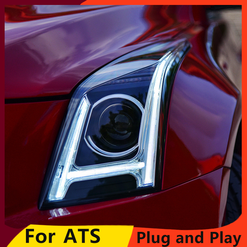 KOWELL Car Styling for Cadillac ATS Headlights 2014-2016 ATS ALL  LED Headlight DRL Bi-LED Lens High Low Beam Parking Fog Lamp