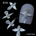 B733  10pcs/lot   Rhinestone Cross Accessories Alloy Wings 3D DIY Nail Decoration For Finger Tips Nail Art