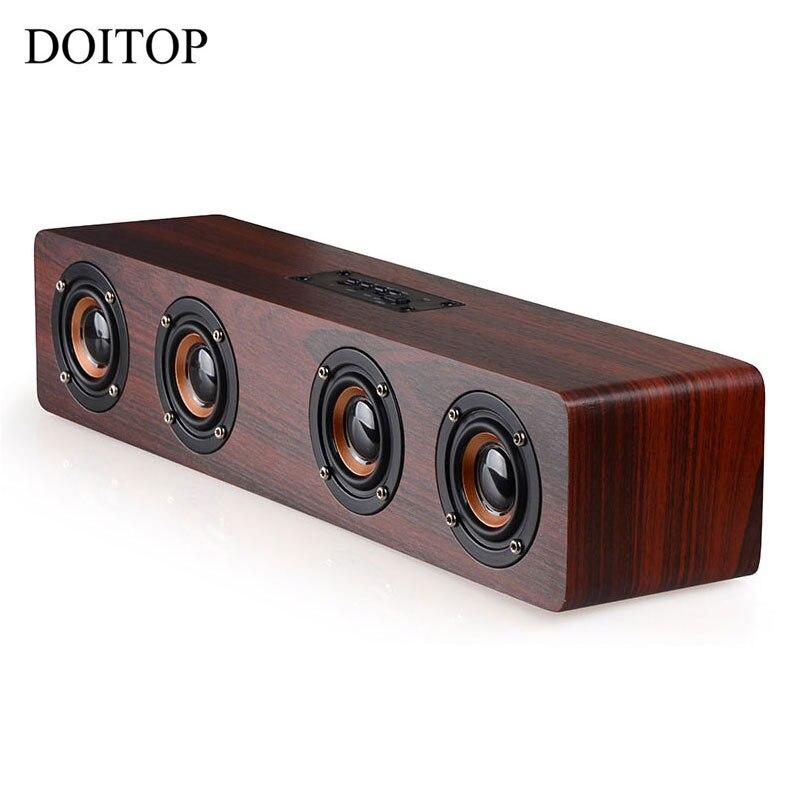 Date W8 Bluetooth bois haut-parleur HIFI quatre haut-parleurs sans fil stéréo Subwoofer haut-parleur TF carte AUX IN pour TV Home Theatre #4