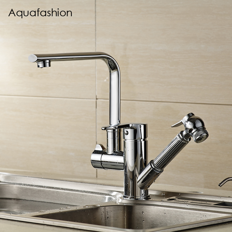 Double Spout Kitchen Faucet Pull Out Sink Faucet Solid Brass Mixer Taps Polished Chrome ydl f 0538 polished nickel finish solid brass spring pull out kitchen faucet antique silvery