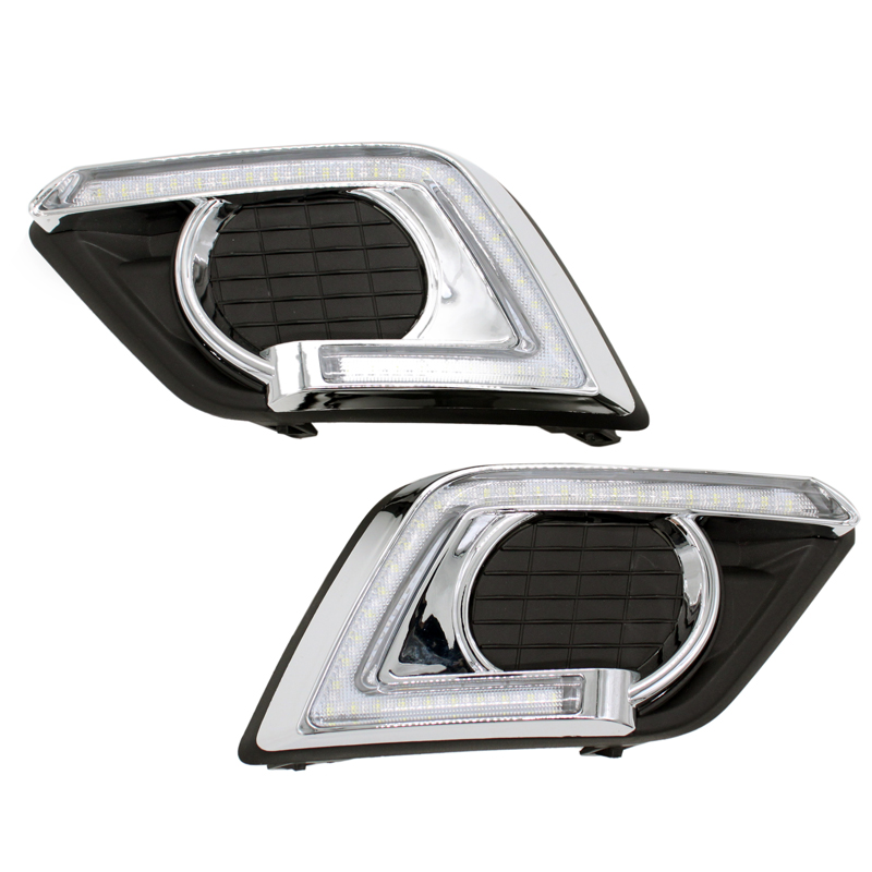2Pcs/Set SUNKIA LED DRL Daytime Running Lights with Fog Lamp Hole for Nissan X-Trail Xtrail 2014-2016 with Turn Signal Function auto accessory led drl daytime running lights daylight fog light yellow turn signal led fog lamp for volkswagen vw polo 2014 15