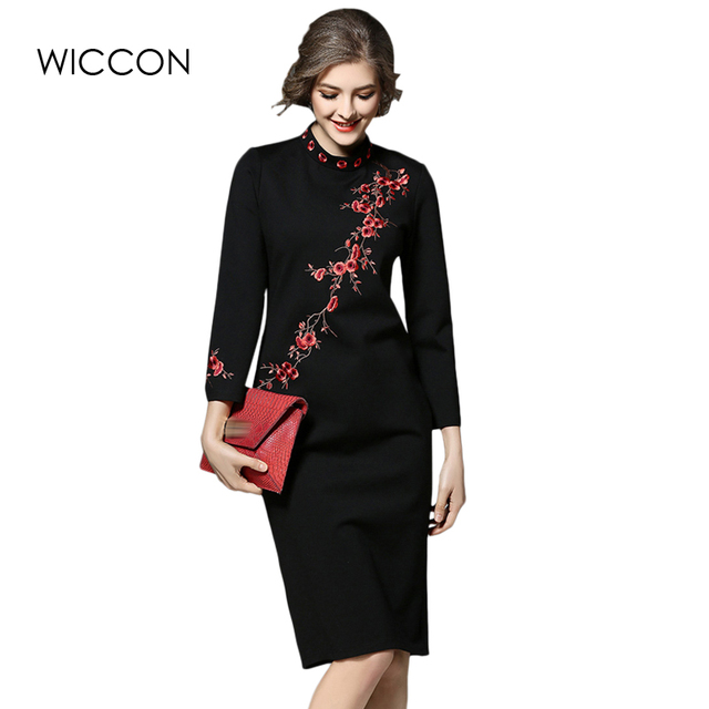 a9d6550a3ac new autumn vintage skinny women dress long sleeve high waist knee length  dresses stand collar embroidery slim lady dress elegant