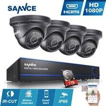 SANNCE 4CH HD ВИДЕОНАБЛЮДЕНИЯ Система 1080 P DVR diy Kit 4 шт. 2.0MP AHD Камеры Безопасности Системы 1080 P система Видеонаблюдения 1 ТБ hdd