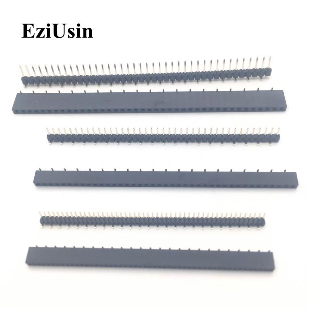 SMT Pitch 1.27 2.0 2.54 Mm 1*40p 1*50p Single Row Dislocation Male Female PCB Pin Header Socket Connector Pinheader For Arduino
