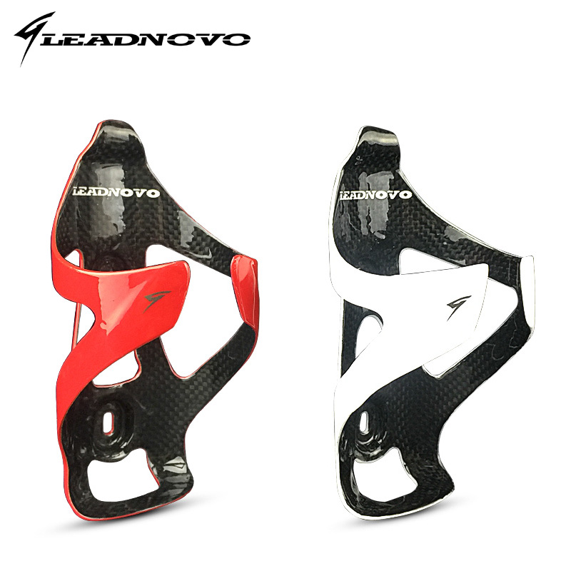 LEADNOVO carbon bottle cage 3K glossy black red/white bike bicycle water bottle holder 25g bicycling bidon cycling IN STOCK rst bc2008 cycling bicycle carbon fiber water bottle holder black