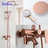 Dofaso classic Rose Gold antique copper shower faucet 8 Rainfall head bath shower set mixer