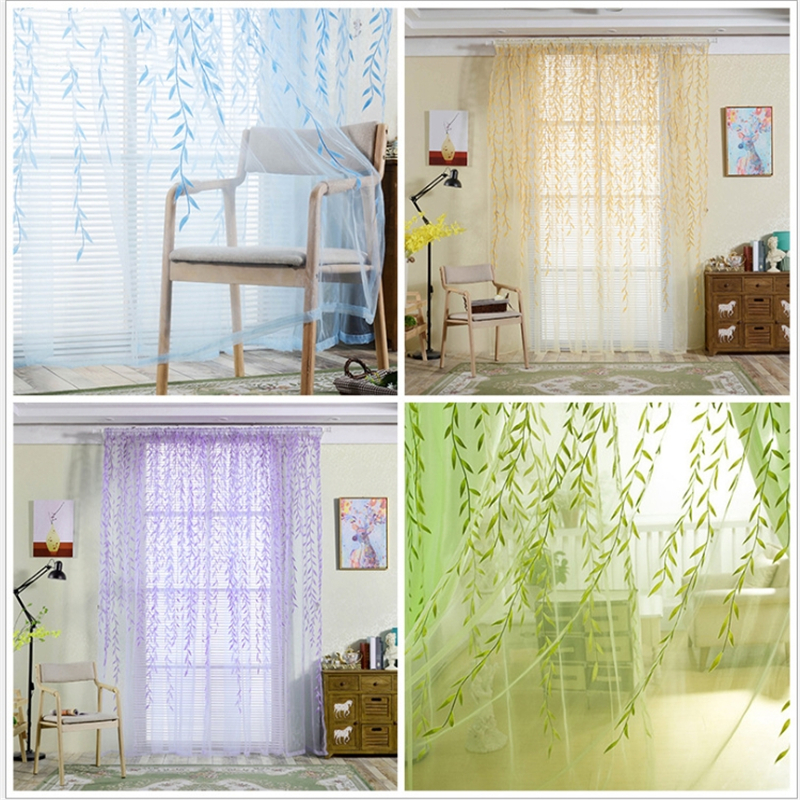 M J D 100x200cm 140x240cm Willow Leaf Tulles Window Sheer Curtains For Living Room Bedroom Kitchen Curtain In From Home Garden On