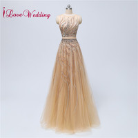 Most Popular 2018 Heavy Beading Evening Gown Gold Tulle Custom made A Line Sleeveless Formal Dress Women Elegant Party Dress