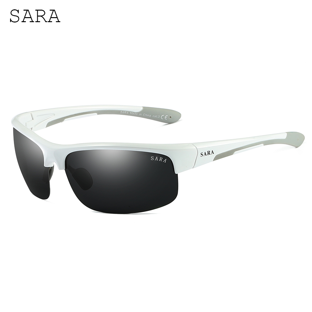Ultralight High Quality Fashion White Frame Polarized Mens Sunglasses Brand Designer Driving Goggle Sunglasses Men UV400 SARA