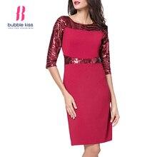 Payetli Patchwork Kadın Elbise Yarım Kollu Modern Tasarım O Boyun Resmi  Sonbahar Elbise Bubblekiss 8c93516fb95b