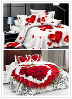 Red Heart Bedding set Love bed sheets quilt duvet cover bedspread bed in a bag linen Queen size 4PCS