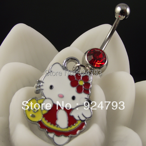 Body jewelry-Navel ,Belly Ring,Navel jewelry Hello Kitty Belly Ring Lovely Cat Animal Belly Ring