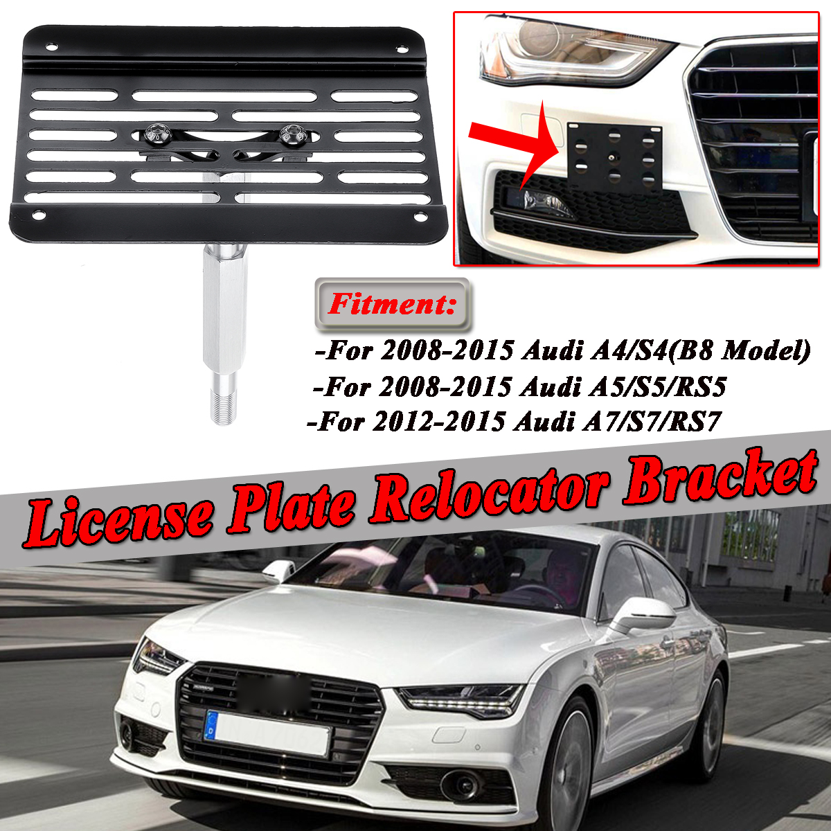 KKmoon Front Bumper Tow Hook License Plate Mounting Bracket Holder for Audi A4 A5 S4 S5 RS5 A7