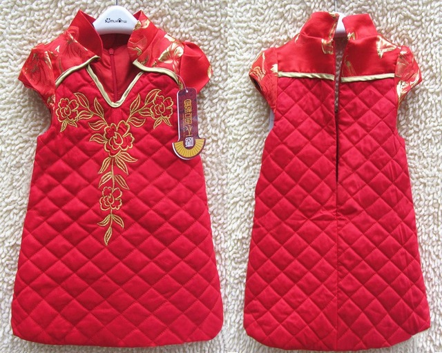 e2e6faf17bd Wholesale 2014 Baby Girl   New Year Winter thick Dress Chinese Style Dress  Qipao Cheongsam Formal Party Dresses