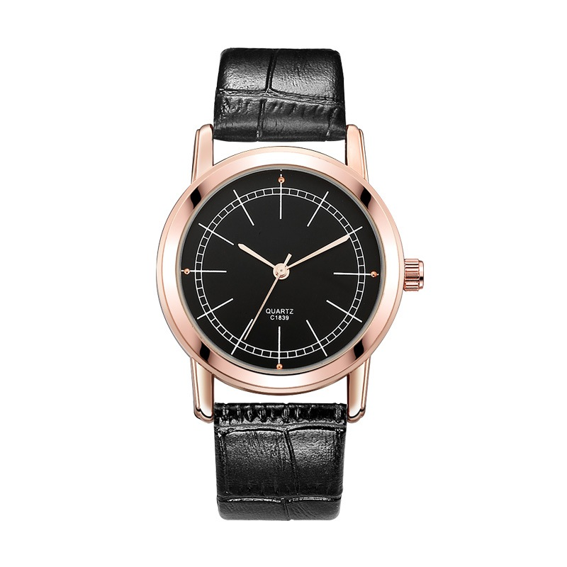 Women Men Leather Band Quartz-watch Wristwatches Clock Fashi