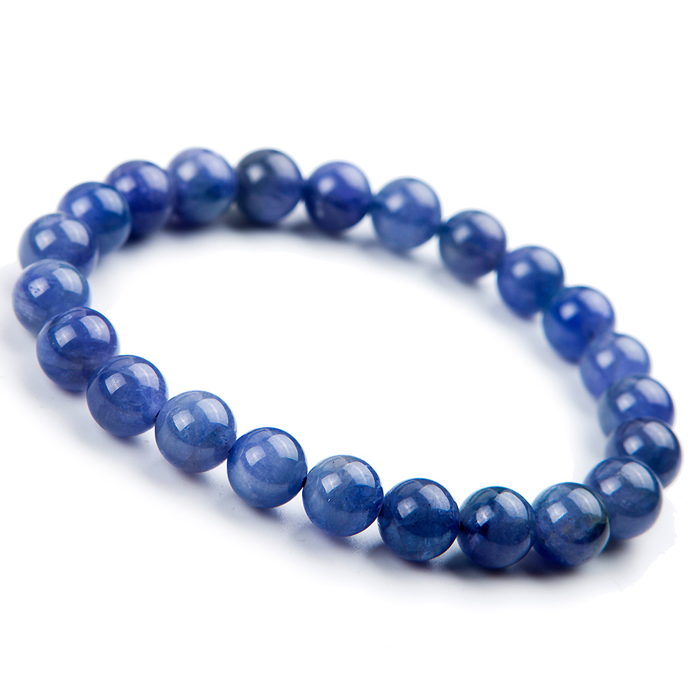 8mm Genuine 100% Natural <font><b>Tanzanite</b></font> <font><b>Bracelet</b></font> For Woman Beads Man Gemstone Blue Round Beads Stretch Crystal Party <font><b>Bracelet</b></font> AAAAA image