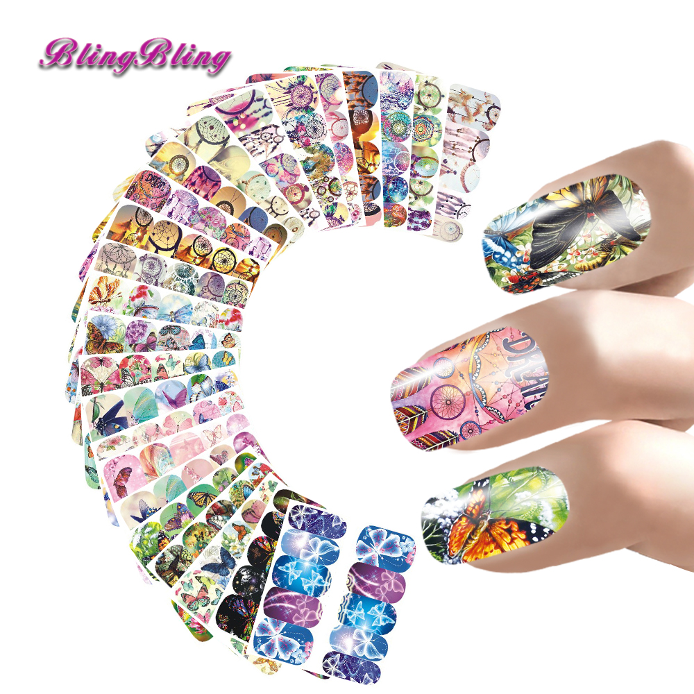 24pcs Butterfly Sticker Decal Beauty Colorful Nail Sticker Dreamcatcher Nail Art Water Transfer Nail Wraps Manicure For Nails ds311 new design water transfer nails art sticker harajuku elements colorful water drops nail wraps sticker manicura decal