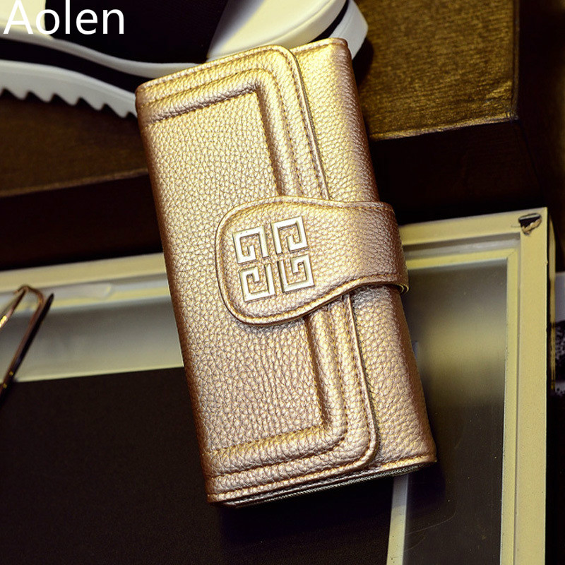 Aolen Purse Women Clutch Luxury Wallets Famous Brand Double Zipper Leather Rfid Blocking Woman Designers Wallet Womens