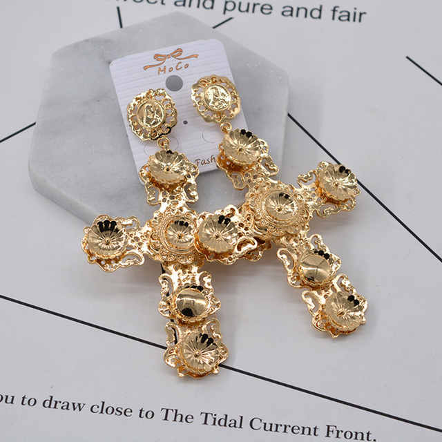Free Shipping Baroque Jewelry Bridal Large Gold Cross Drop Earrings For Women Brand Pearl Crystal Dangle