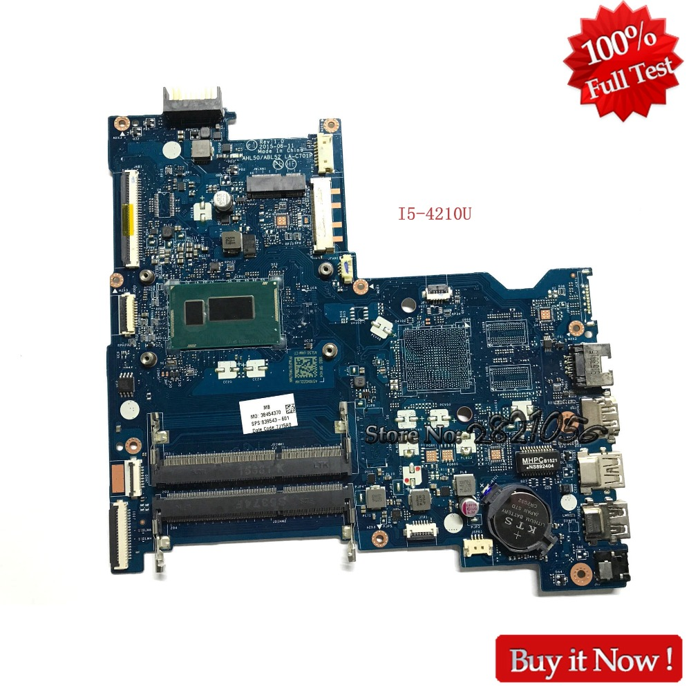 Nokotion LA-C701P AHL50 ABL52 For HP 15-AC 839543-601 839543-001 839543-501 Laptop Motherboard With SR1EF I5-4210U DDR3L