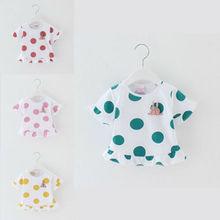 Милая футболка в горошек для новорожденных девочек; хлопковая летняя одежда с оборками; топы