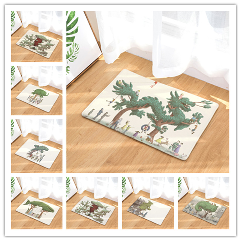 new arrive welcome home hallway flannel mats cool pattern rugs rectangular waterproof light carpets for bedroom