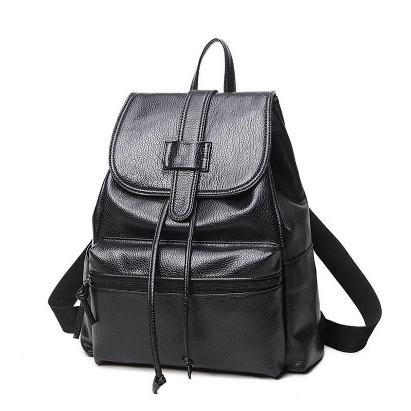 ФОТО Simple Style Backpack Women PU leather Shoulder Bag For Teenage Girls