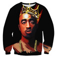 HOT fashion hoodies print 2pac tupac 3d sweatshirt men/women's crewneck casual hip hop sweats top moleton feminino Free shipping