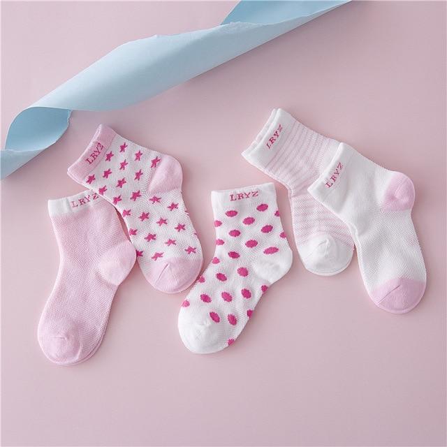 5 par/lote conjunto de calcetines de bebé de malla de algodón para niñas niños recién nacidos calcetines de estrella Luna niño bebé calcetines suaves 0-1 años