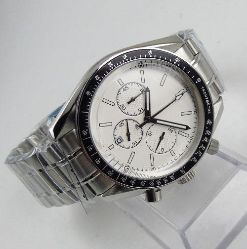 42mm Sterile Dial Quartz Men s Watch Chronograph Stainless steel Case Date Luxury Quartz Movement Wristwatch