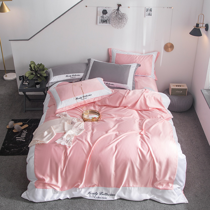 Luxury Satin Washing Silk Bedding Sets Duvet Cover Flat Sheet  Queen King size 4pcs pink quilt cover summer fashion bedclothesLuxury Satin Washing Silk Bedding Sets Duvet Cover Flat Sheet  Queen King size 4pcs pink quilt cover summer fashion bedclothes